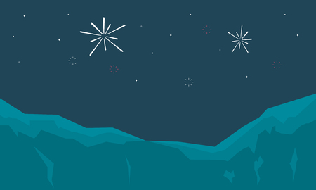Silhouette of firework landscape at night vector art