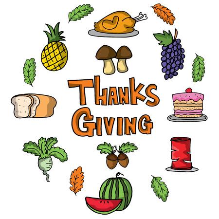 Cartoon thanksgiving set of doodles vector art