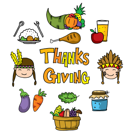 Thanksgiving fruit and vegetable on doodles