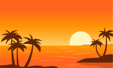 sunset beach: Beach with Palm at sunset landscape vector art Illustration
