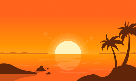 sunset beach: At sunset palm on beach vector illustration