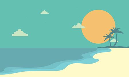 風景ビーチでサンセット漫画のベクトル図  イラスト・ベクター素材