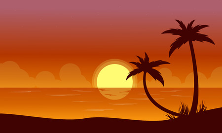 sihlouette: Silhouette of beach at sunset with reflection scenery vector