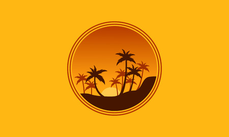 sihlouette: Silhouette of forest palm tree scenery vector illustration