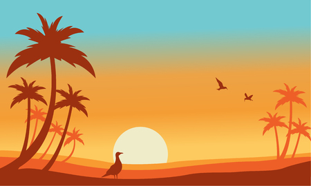 sihlouette: Silhouette of bird and palm landscaspe vector illustration Illustration