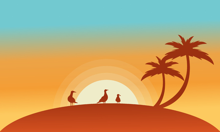 sihlouette: Landscape bird and palm of silhouettes at the sunset Illustration
