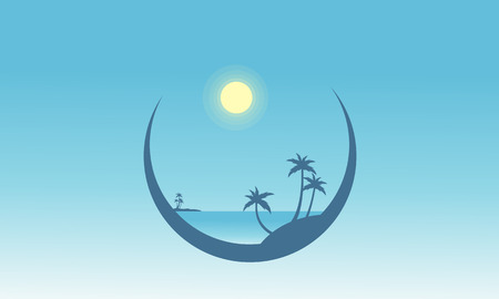 sihlouette: Silhouette of palm in beach scenery vector flat Illustration