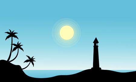 sihlouette: Silhouette of lighthouse on beach vector illustration