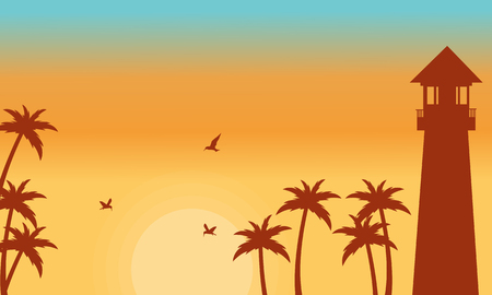 sihlouette: Silhouette of palm and lighthouse vector illustration