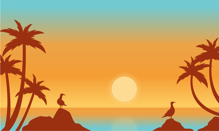 sihlouette: Silhouette of seaside with bird vector flat Illustration
