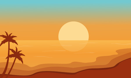 sihlouette: Beach at sunrise scenery silhouettes vector illustration Illustration