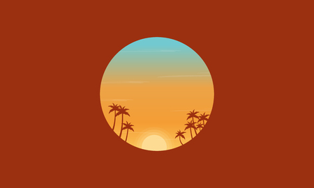 sunset palm trees: At sunset palm trees silhouettes scenery vector flat