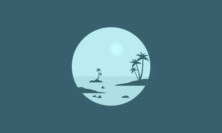 sihlouette: Silhouette of seaside and palm scenery vector illustration
