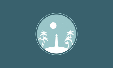 sihlouette: Silhouette of lighthouse and moon vector illustration Illustration
