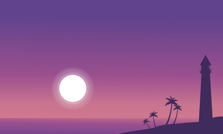 At night beach scenery with lighthouse silhouettes vector