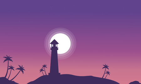Lighthouse and moon scenery at night silhouettes vector Illustration