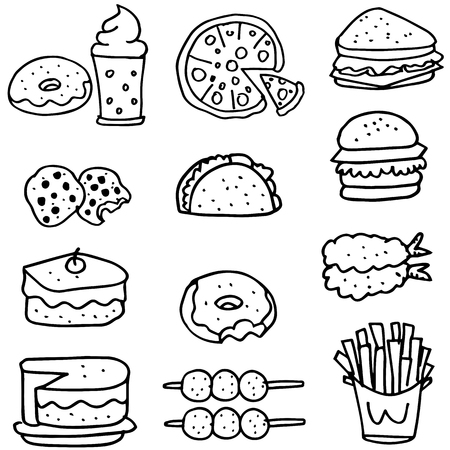 Doodle of food cafe vector