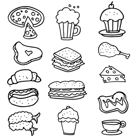 food drink: Doodle of food object hand draw vector art