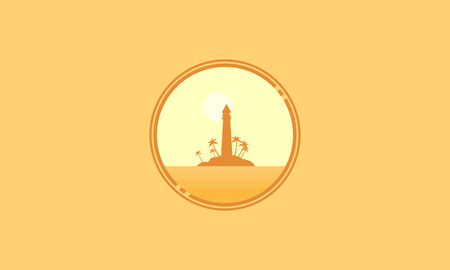 sihlouette: Icon scenery island and light house silhouettes vector Illustration