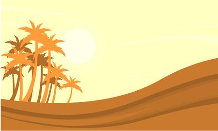 Silhouette of dessert and clump palm vetcor illustration Illustration