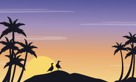 sihlouette: Silhouette of seabird and palm scenery at sunrise Illustration
