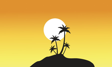 Beautiful scnery palm trees of silhouettes vector illustration Illustration