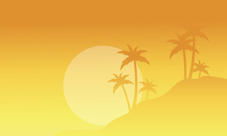 sihlouette: Silhouette of palm with fog scenery vector illustration Illustration