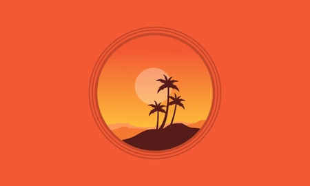 Silhouette of palm on orange backgrounds vector illustration