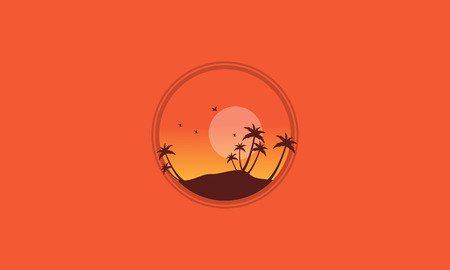 Silhouette of palm and many bird scenery vector Illustration