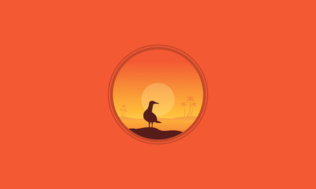 Silhouette of one seabird scenery evctor illustration