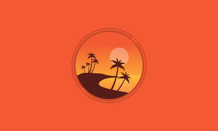Landscape beach with palm of silhhouettes vector illustration
