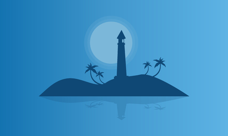sihlouette: Silhouette of islands at night vector illustration Illustration