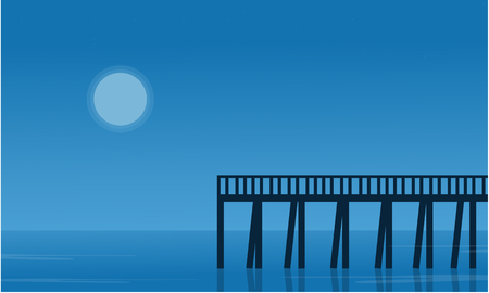 sihlouette: Silhouette of pier on seaside scenery vector