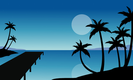 canary islands: Silhouette of palm and pier scenery vector flat Illustration
