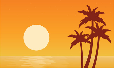 sihlouette: Silhouette of palm with sun seaside vector illustration