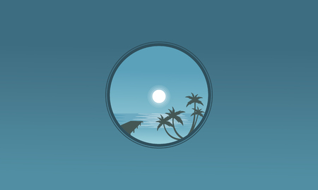 sihlouette: Pier and palm landscape at night silhouettes vector Illustration
