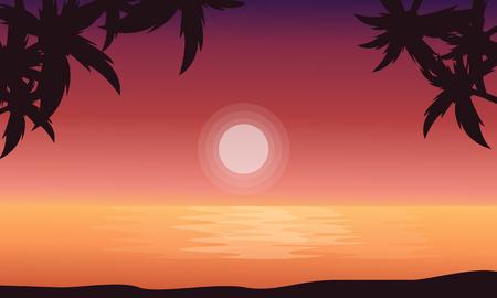sunrise beach: At sunrise beach scenery of silhouettes vector flat Illustration