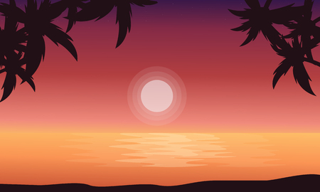 At sunrise beach scenery of silhouettes vector flat Illustration