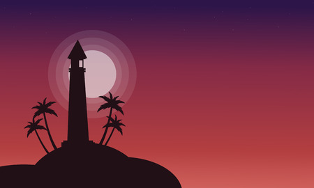 Silhouette of lighthouse on red backgrounds vector illustration Illustration