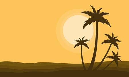 Clump palm scenery at sunset silhouettes vector illustration