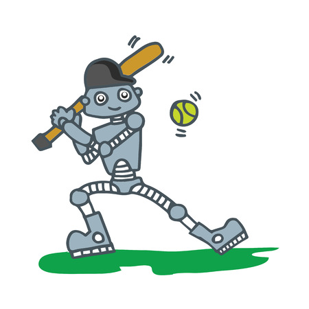 chrome base: Robot playing baseball T-shirt design vector illustration Illustration