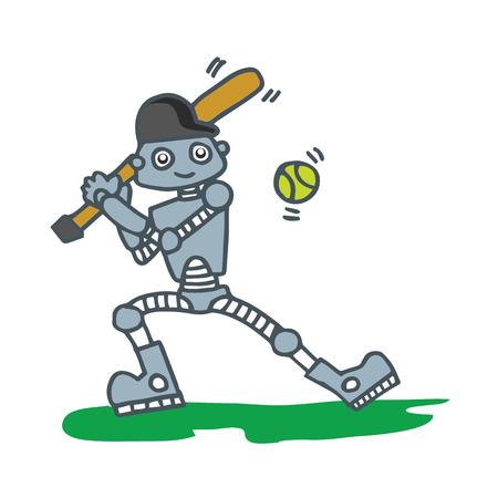 Robot playing baseball T-shirt design vector illustration Illustration