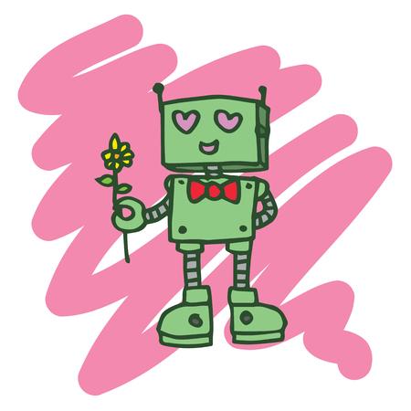 Robot heart T-shirt design collection vector illustration