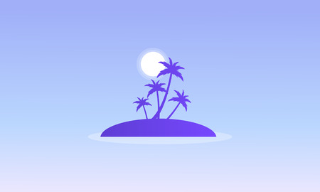 Silhouette of islands with palm vector illustration