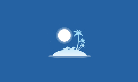 Silhouette of islands with moon scenery vector illustration