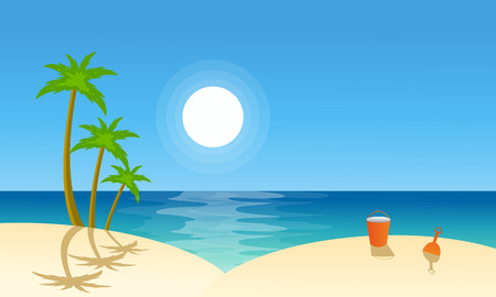 beach landscape: Vector flat landscape beach collection stock illustration Illustration