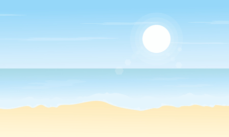 Vector flat of beach scenery collection stock