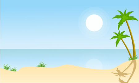 Beach and palm scenery vector flat illustration Illustration
