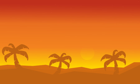 canary islands: Silhouette of palm on dessert scenery vector illustration