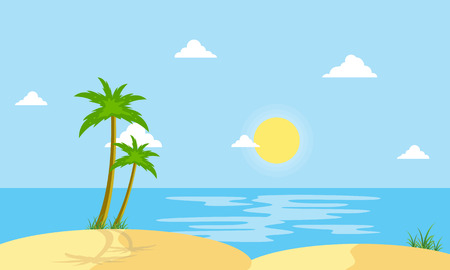 Beach scenery cartoon vector flat style collection